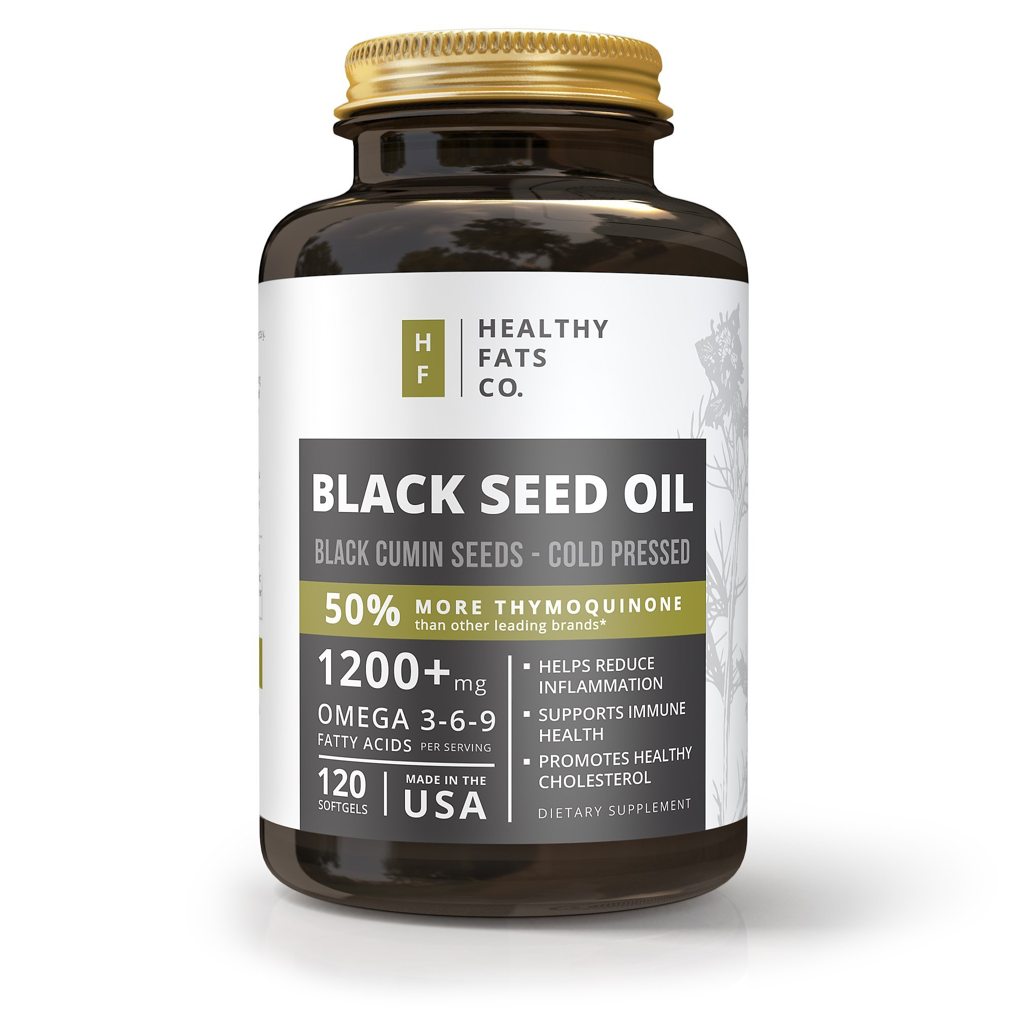 Premium Organic Black Seed Oil Softgel Capsules, 1200 Milligrams Per Serving, Made from Cold Pressed Black Cumin Seeds, Highest in Thymoquinone, Pure Nigella Sativa by the Healthy Fats Co 120 Softgels