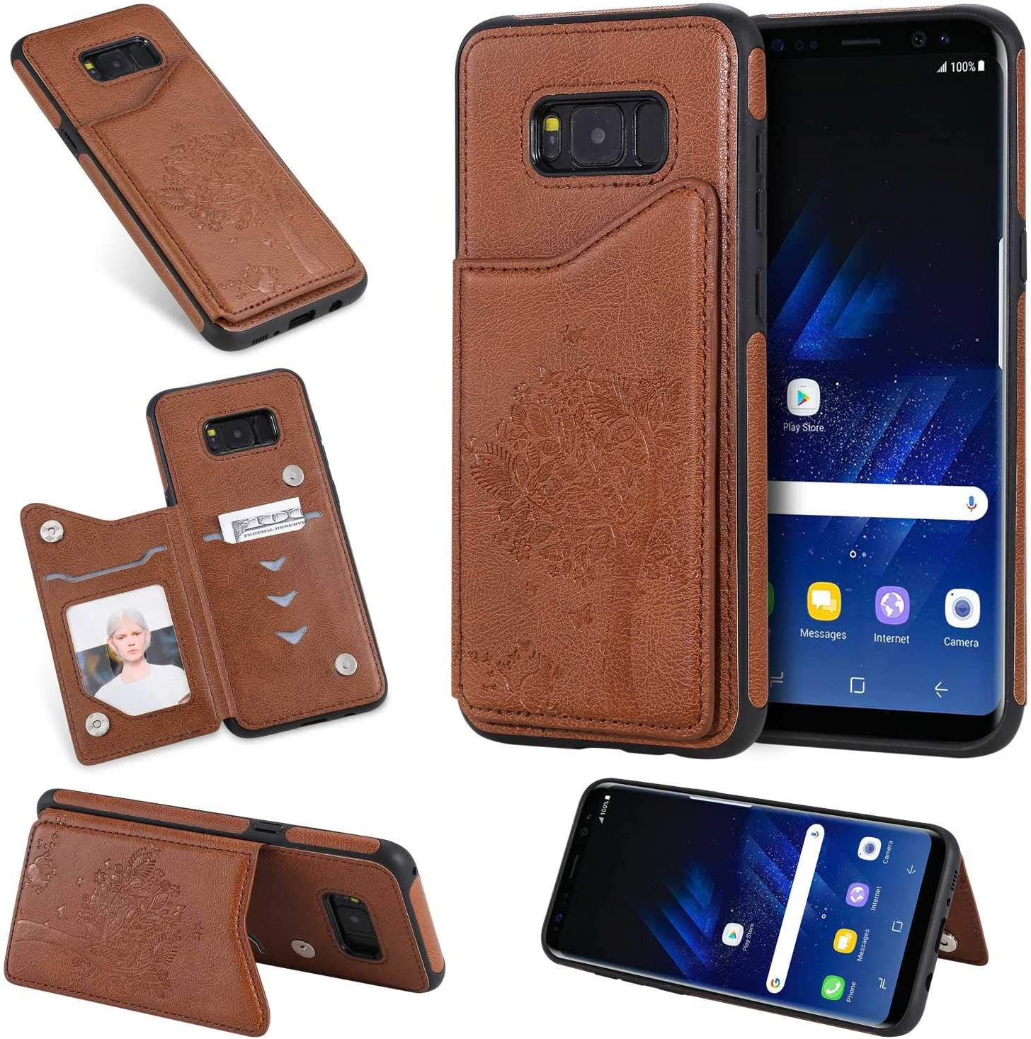 Premium Scratch Resistant PU Leather Folding Protective Case with Credit Card Slot for Samsung Galaxy S8 Plus Bear Village/® Ultra Thin Galaxy S8 Plus Case Rose Gold