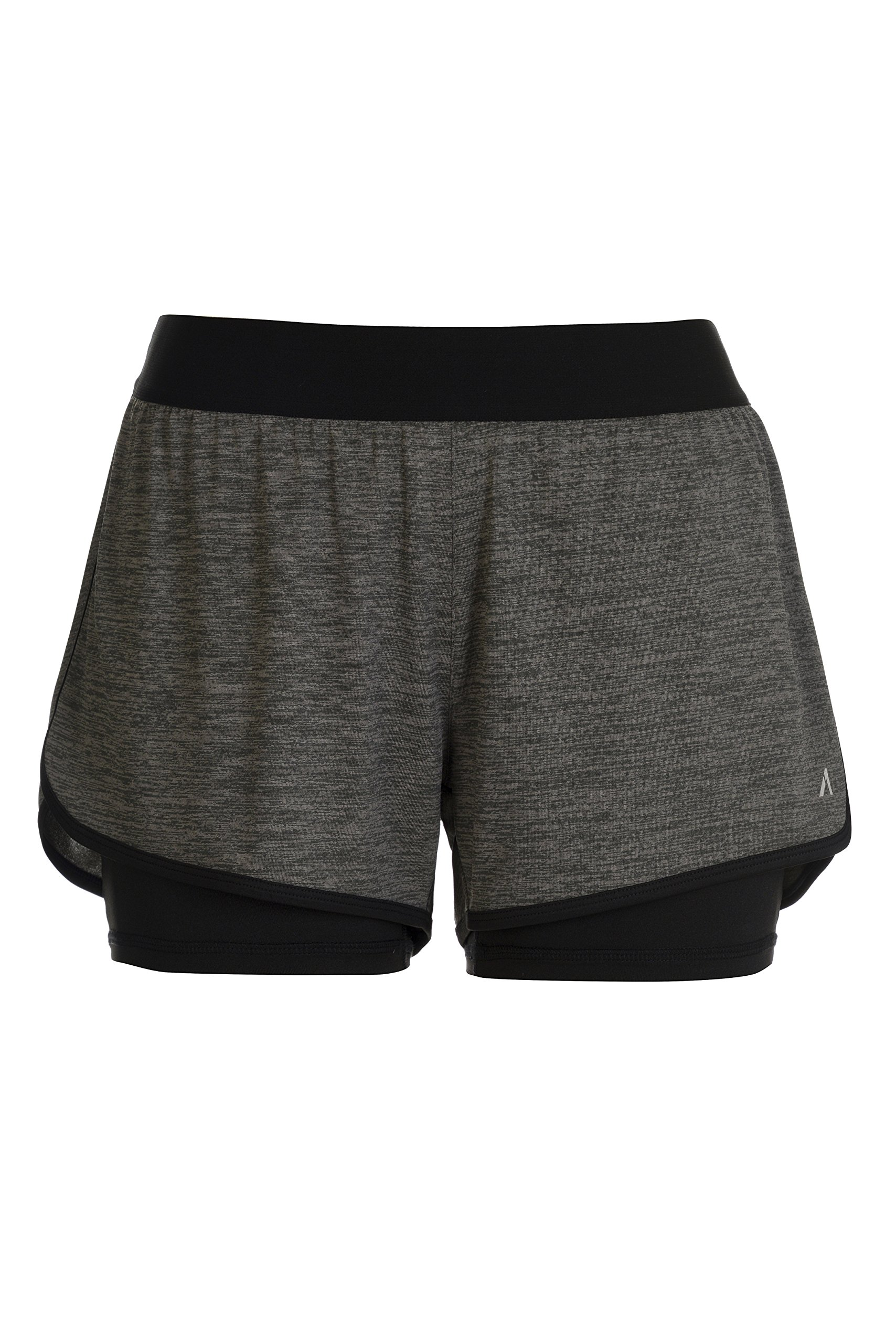 Alive Ladies Two in One Knit Yoga Running Short with Compression Short (Large, Charcoal Heather/Rich Black)