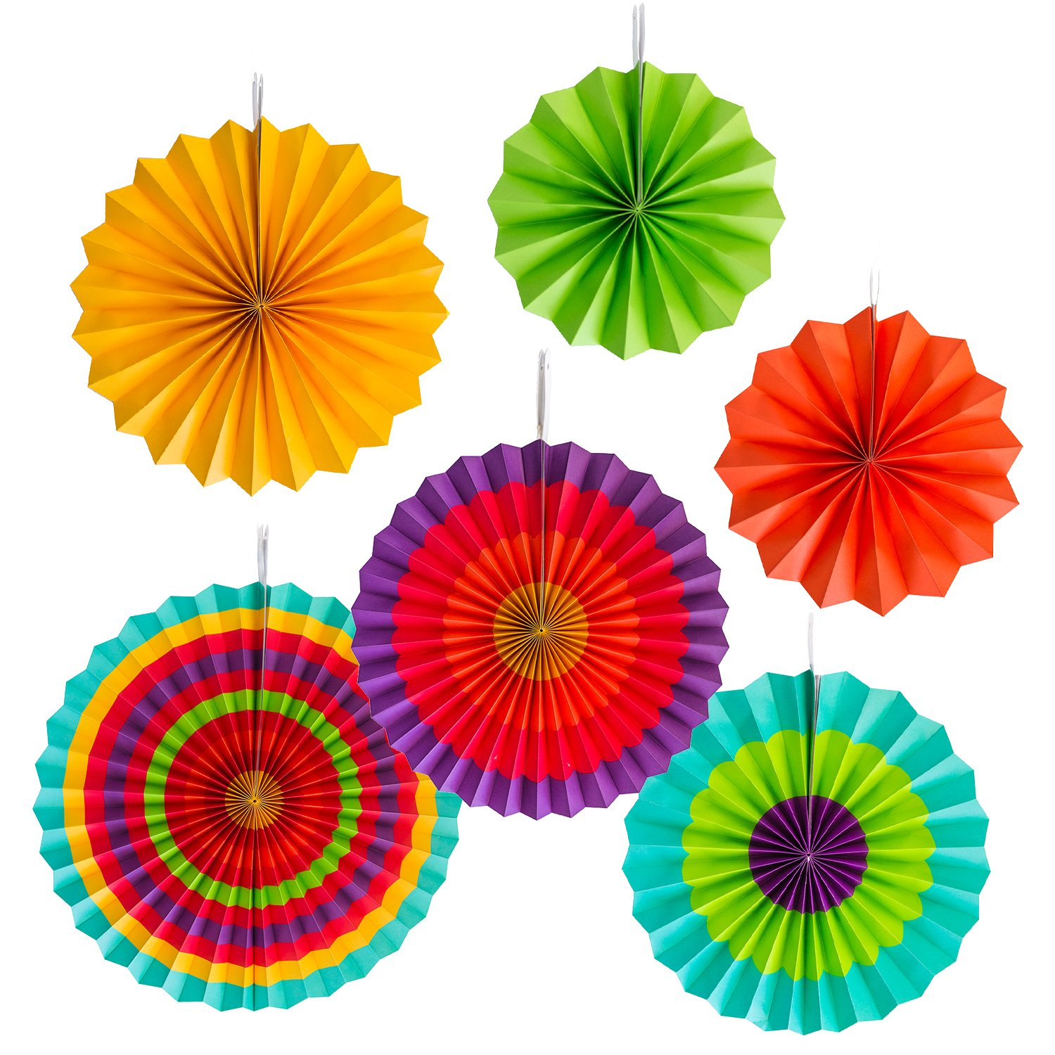 amazon com fiesta colorful paper fans round wheel disc amazon com fiesta colorful paper fans round wheel disc southwestern pattern design for party event home decoration set of 6 toys games