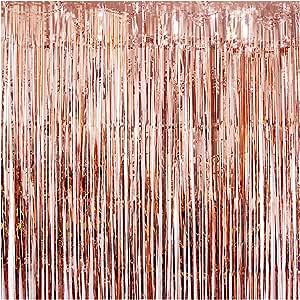 ستائر معدنية مزينة بشراشيب مقاس 200 سم × 100 سم لخلفية صور الحفلات وديكور الزفاف (ذهبي، عبوة من قطعتين)