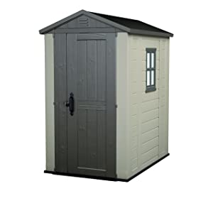Keter Factor Outdoor Plastic Garden Storage Shed, 4 x 6 feet - Beige
