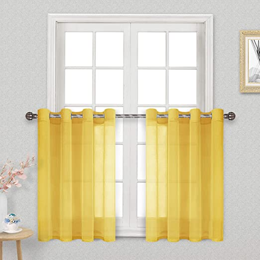 Amazon Com Dwcn Yellow Sheer Tier Curtains 36 Inch Length Grommet Faux Linen Small Window Kitchen Curtain Voile Drapes For Cafe Bedroom Living Room Set Of 2 Tier Curtain Panels Home Kitchen,Ikea Customer Service Usa Email