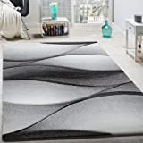 Tappeto Di Design Moderno Astratto Effetto A Onde Taglio Sagomato In Grigio Antracite, Dimensione:80x150 cm