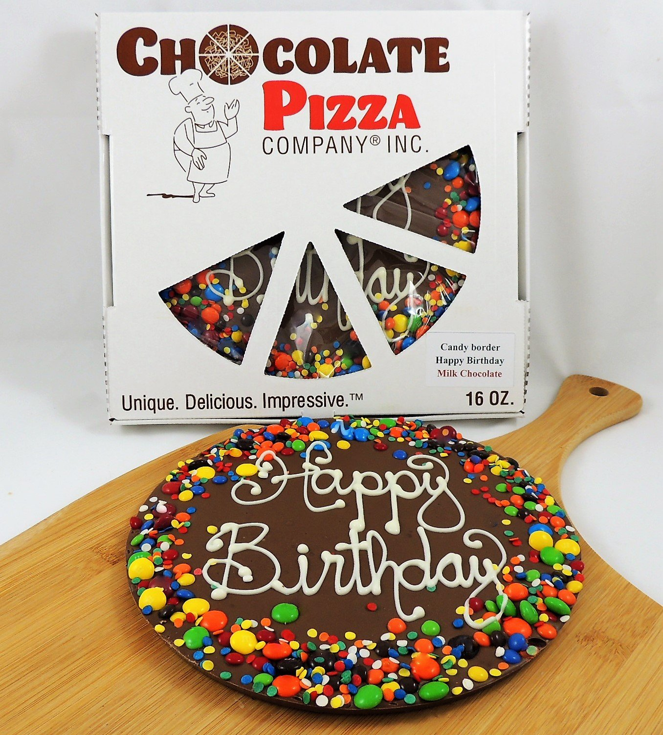 Chocolate Pizza®, Happy Birthday, 14 Ounce, 10 Inch, Hand-Decorated, Made in USA by Chocolate Pizza Company