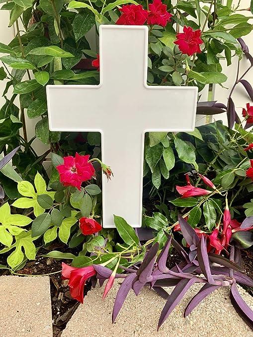 Solar Lighted Cross By Eternal Light Illuminated Grave Marker Heartfelt Cemetery Decoration