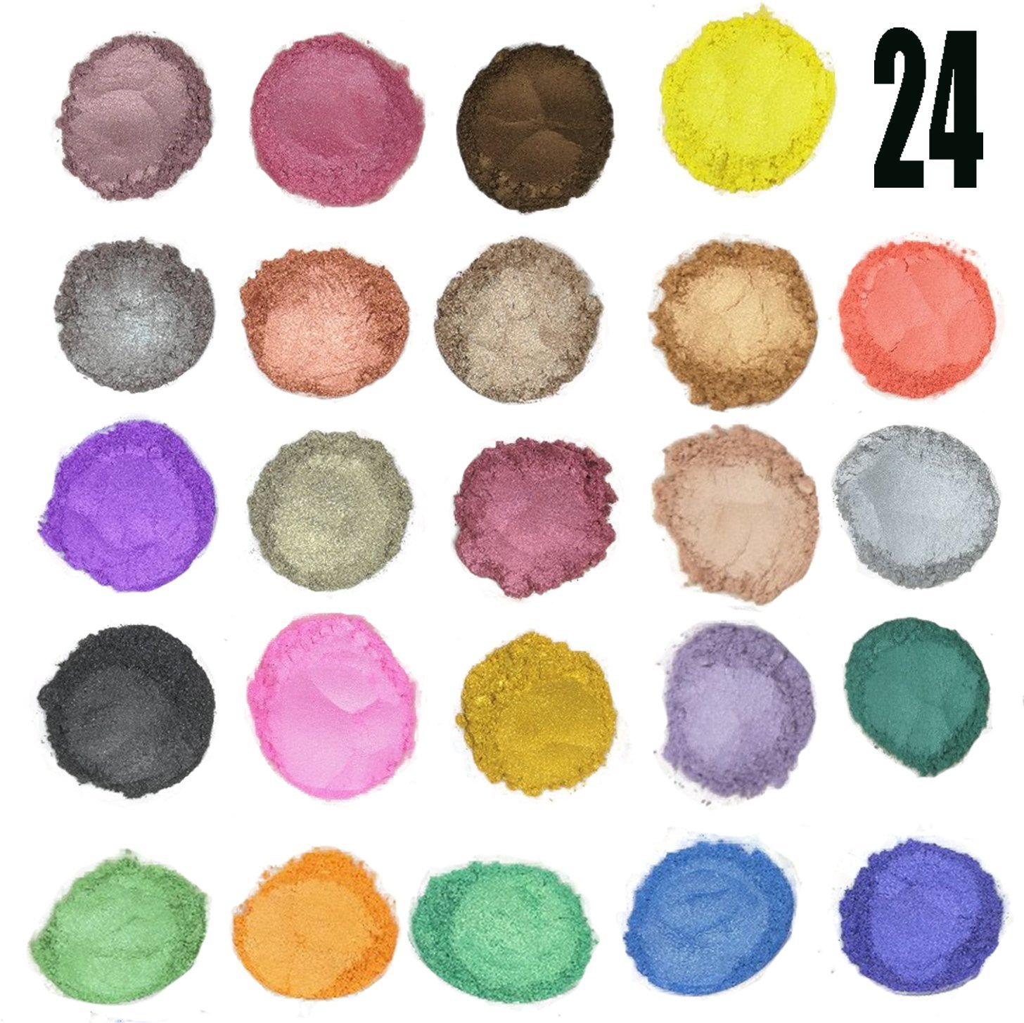 JBENG 24 Colors for Soap Coloring - Mica Powder Pigments - Soap dye - Soap Making Colorants Set - (0.1 oz 24 bags) - Candle Making, Blush, Eye Shadow, Craft Projects, Nail Art, Resin Jewelry 54454