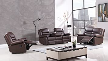 American Eagle Furniture 3 Piece Bayfront Collection Complete Faux Leather  Reclining Living Room Sofa Set,