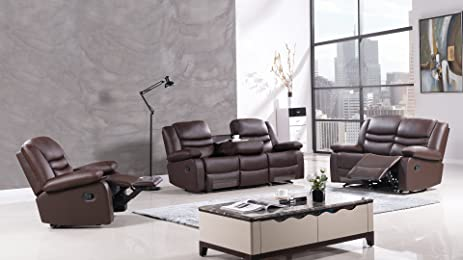 American Eagle Furniture 3 Piece Bayfront Collection Complete Faux Leather Reclining Living Room Sofa Set : reclining living room - islam-shia.org