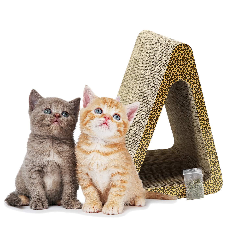 ZENEZ Cat Scratching Posts 3-Sided Vertical Cat Scratcher Scratching Board Triangle Angles Cardboard