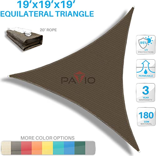 Patio Paradise Sun Shade Sail 19 x 19 x 19 Triangle Canopy in Brown UV Block Fabric-Customized Available-Set of 10