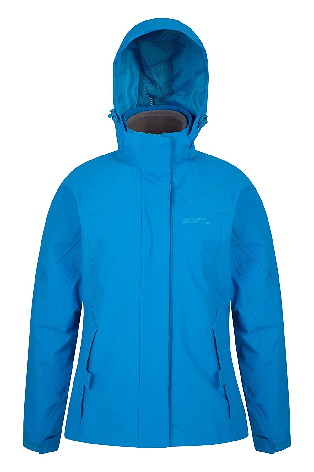 Detachable Fleece Ladies Coat Mountain Warehouse Storm 3 in 1 Womens Waterproof Jacket Rain Jacket Hiking Multiple Pockets Ideal Spring Outer for Walking