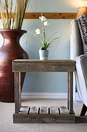 Natural Slatted End Table