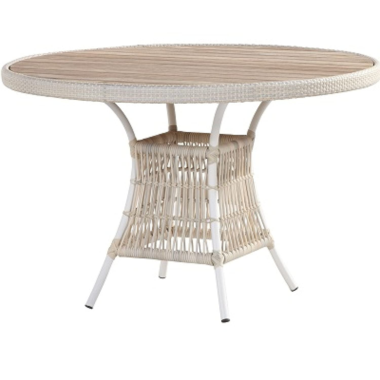 4Seasons Outdoor Dining Tisch Loire ø 117 cm Alu weiß Polyrattan provance