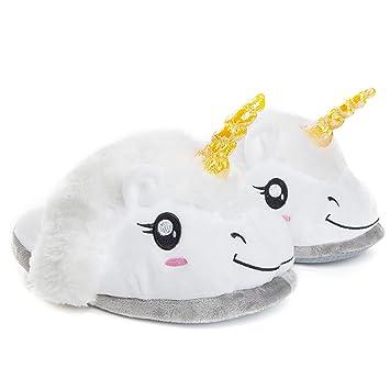 Chaussons licorne blanche en peluche, pantoufles chaudes de maison, taille unique (convient aux tailles 36 à 44)