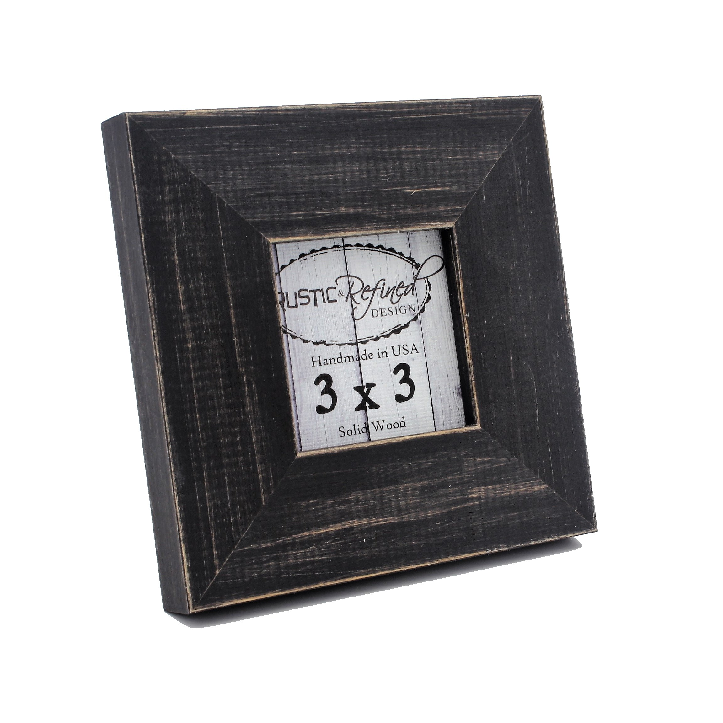 Rustic and Refined Design Country Colors Picture Frame - Solid Wood - Hand Made in USA (Charcoal Black, 3x3) by Rustic and Refined Design