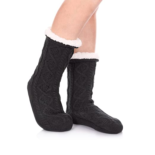 Herhilly Women Cable Knit Slipper Socks Super Soft Warm Fuzzy Home
