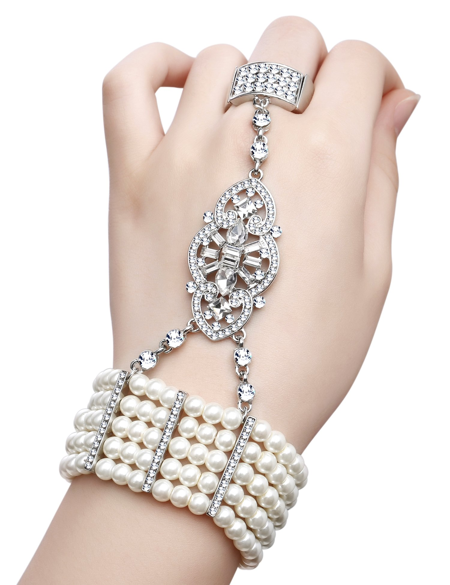 BABEYOND Art Deco Gatsby Inspired 1920s Flapper Bracelet Adjustable Ring Set Crystals Imitation Pearl (Style 2-silver)