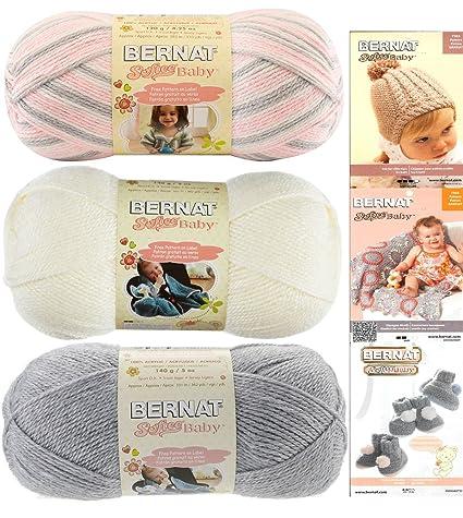 43513dc8c Bernat Softee Baby Acrylic Yarn 3 Pack Bundle Includes 3 Patterns DK ...