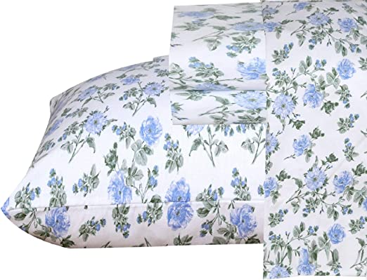 Amazon Com Ruvanti 100 Cotton 4 Piece Flannel Sheets Queen Floral Design Deep Pocket Warm Super Soft Breathable Moisture Wicking Flannel Bed Sheets Set Queen Include Flat Sheet Fitted Sheet 2 Pillowcases Home