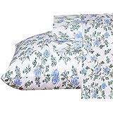 Ruvanti 100% Cotton 4 Piece Flannel Sheets Full Floral Design- Deep Pocket -Warm-Super Soft-Breathable & Moisture Wicking Fla
