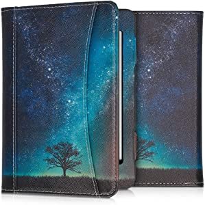 kwmobile Case Compatible with Amazon Kindle Paperwhite (10. Gen - 2018) - PU Leather Cover with Magnetic Closure, Strap, Front Pocket - Cosmic Nature Blue/Grey/Black