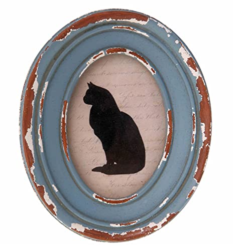 WOODEN BLUE OVAL PHOTO FRAME SMALL DISTRESSED SHABBY VINTAGE CHIC ...
