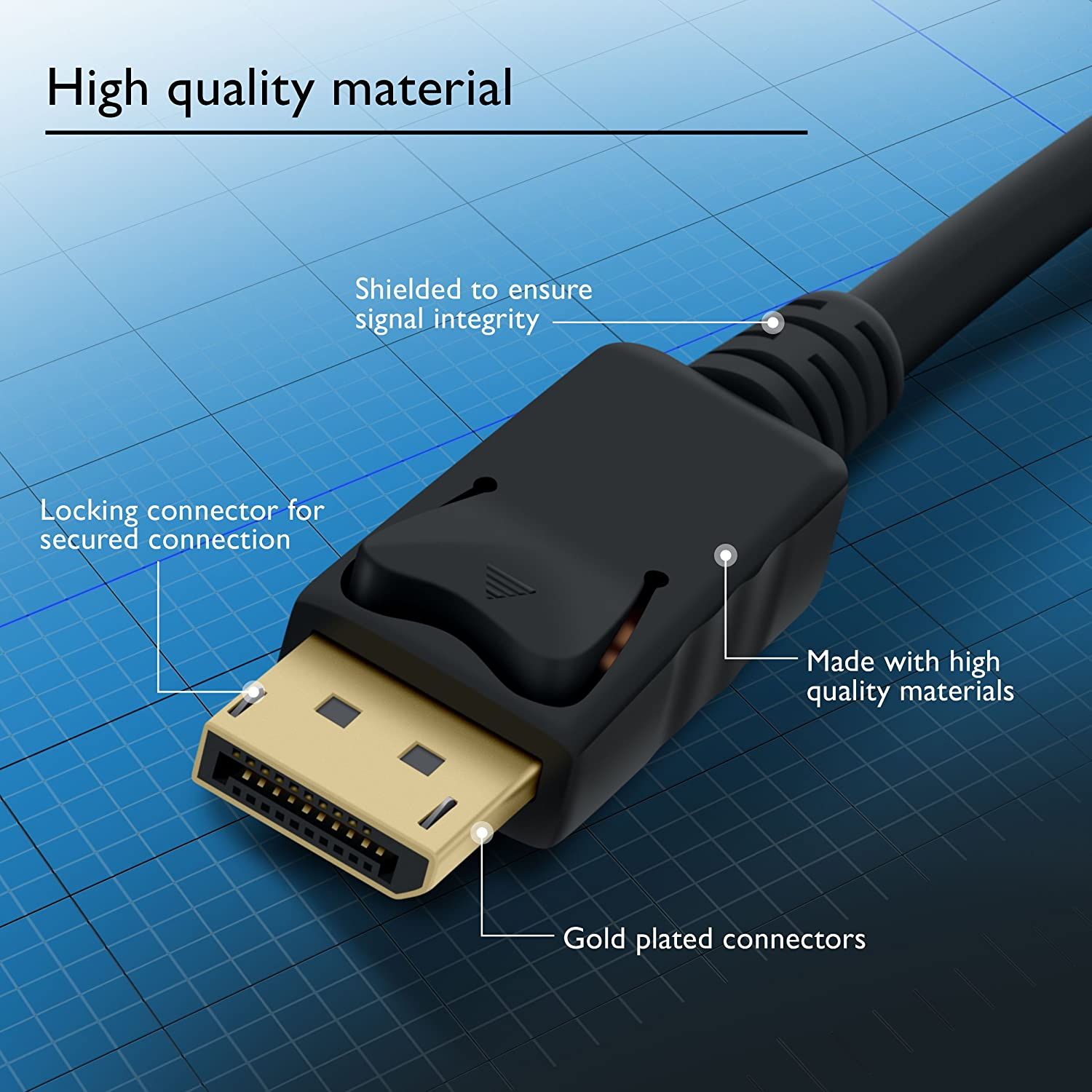 Amazon.com: GearIT Gold Plated DisplayPort to DisplayPort Cable 10 ...
