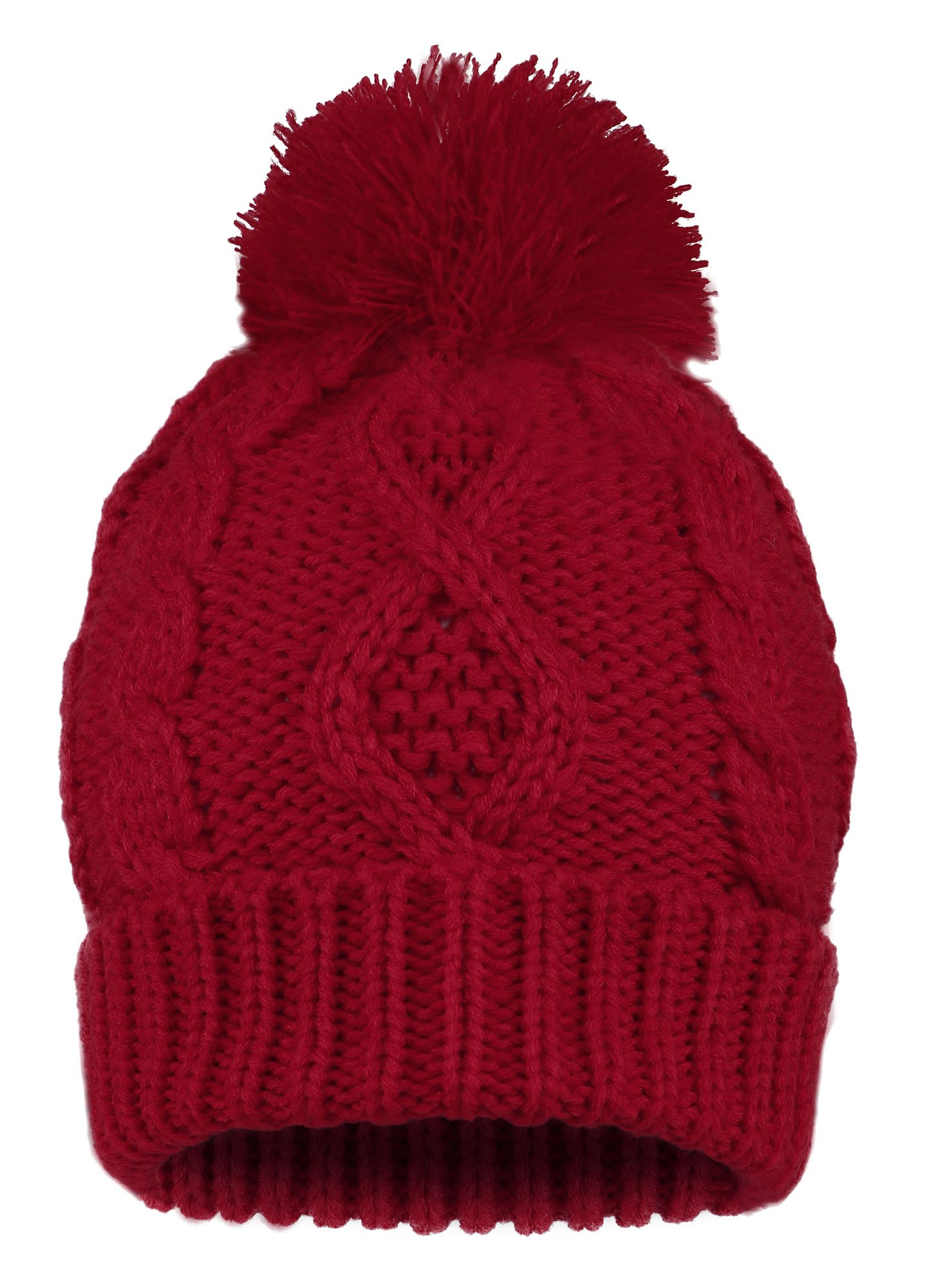 ANDORRA - 3 in 1 - Soft Warm Thick Cable Hat Scarf & Gloves Winter Set, Red by Andorra (Image #4)