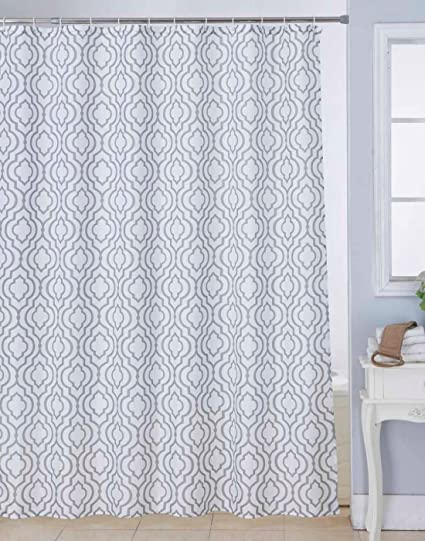 Bianca Waterproof Printed Polyester Shower Curtain with 12-pieces Plastic Hooks (White and Brown)