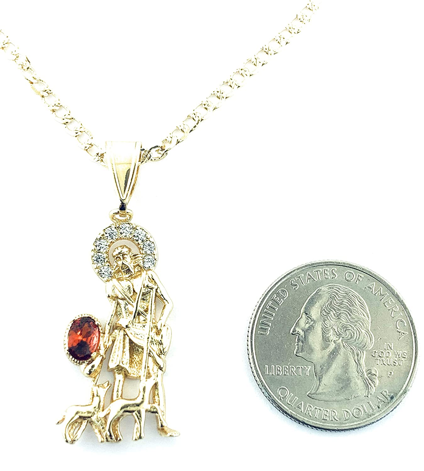 14k Ba/ño de oro San Lazaro Cadena 22 Largo Ray Jewelry 14K Gold Plated Saint Lazarus Necklace 22 LONG-33x12mm RAYSET30-G