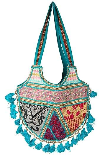 Amazon.com: Mujer Casual Azul bolsa borla Pom Pom abalorio ...