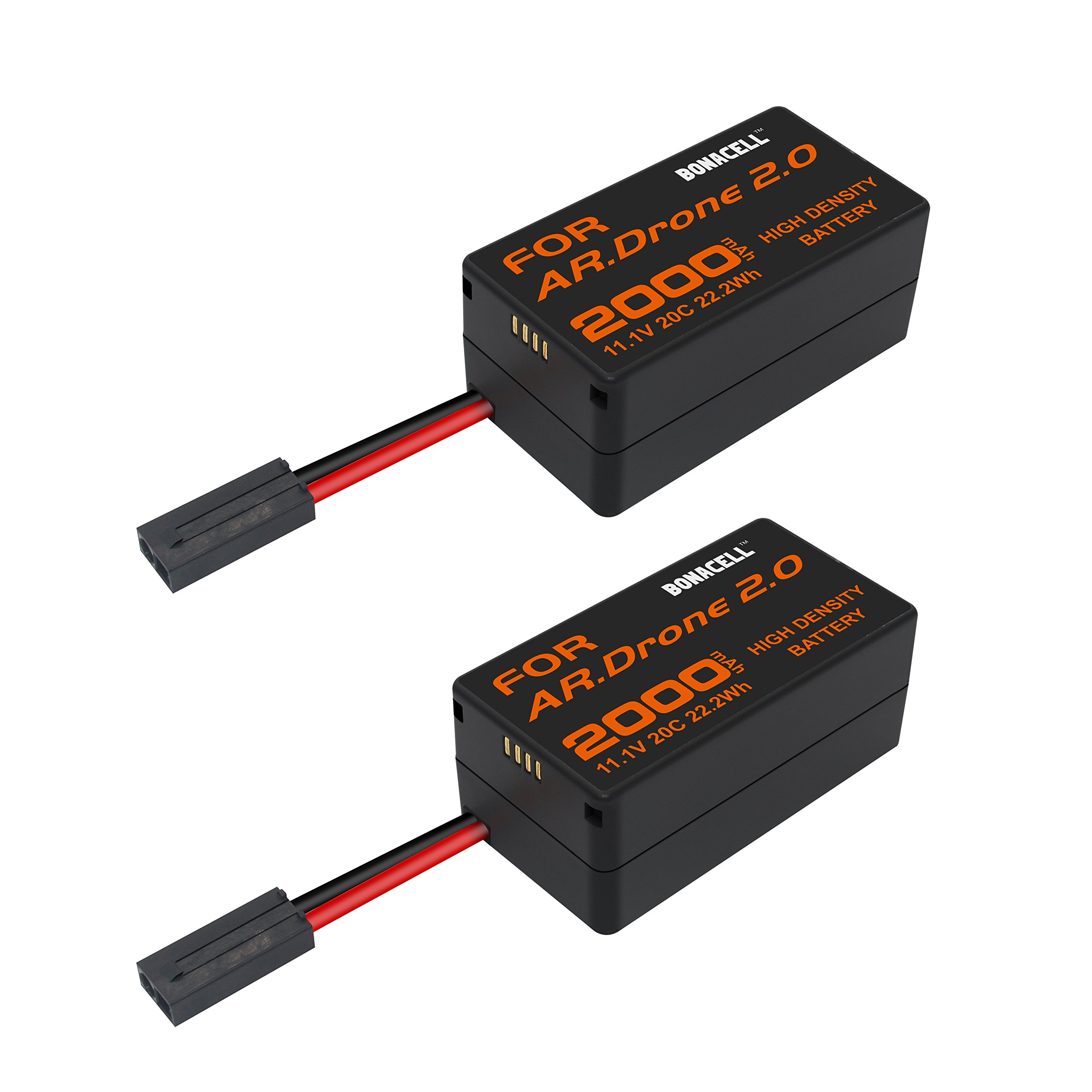 Bonacell 2 Pack Upgraded 2000mAh Lithium-Polymer Replacement Battery for Parrot AR.Drone 2.0