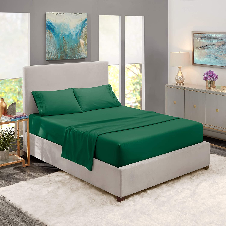 Queen Sheets - Bed Sheets Queen Size – Deep Pocket Hotel Sheets – Cool Sheets - Luxury 1800 Sheets Hotel Bedding Microfiber Sheets - Soft Sheets – Queen - Hunter Green