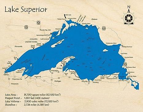 Amazon.com: Lake Superior - Great Lakes - GL - 3D Map 24 x ...