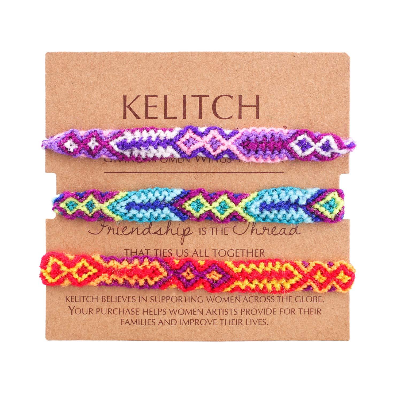 KELITCH Crystal Shell Seed Beads Pendant Tassel Friendship Bracelets Hand Woven Fashion Jewelry Bangles 3pcs AZ1W-150504K