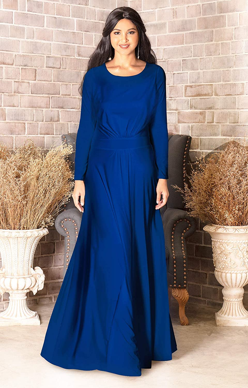 KOH KOH Sleeve Flowy Empire Waist Fall Winter Party Gown
