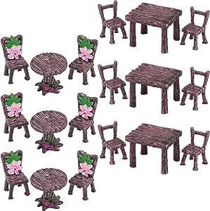 18 Pieces Miniature Table and Chairs Set Fairy Garden Ornaments DIY Dollhouse Decor Floral Table Chair Landscape for Succulent Plants Flowerpot Outdoor Home Decoration