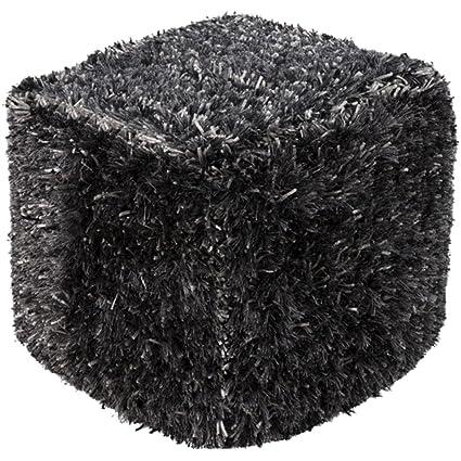Amazon Diva At Home 40 Six Shades Of Gray Stylish Shaggy Wool Interesting Shaggy Pouf Ottoman