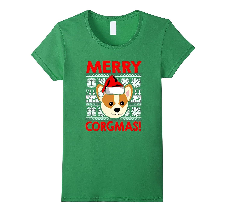 Funny Christmas Santa Corgi Dog Merry Corgmas Tee Shirt