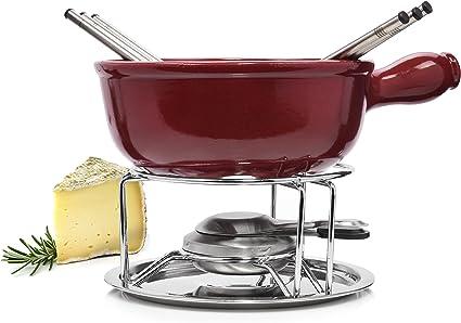 Emile Henry Fondue de queso Set de 9 piezas, incluye cacerola, hornillo, masa para grabadora y tenedores de fondue | Disfrute de su Fondue de queso en ...