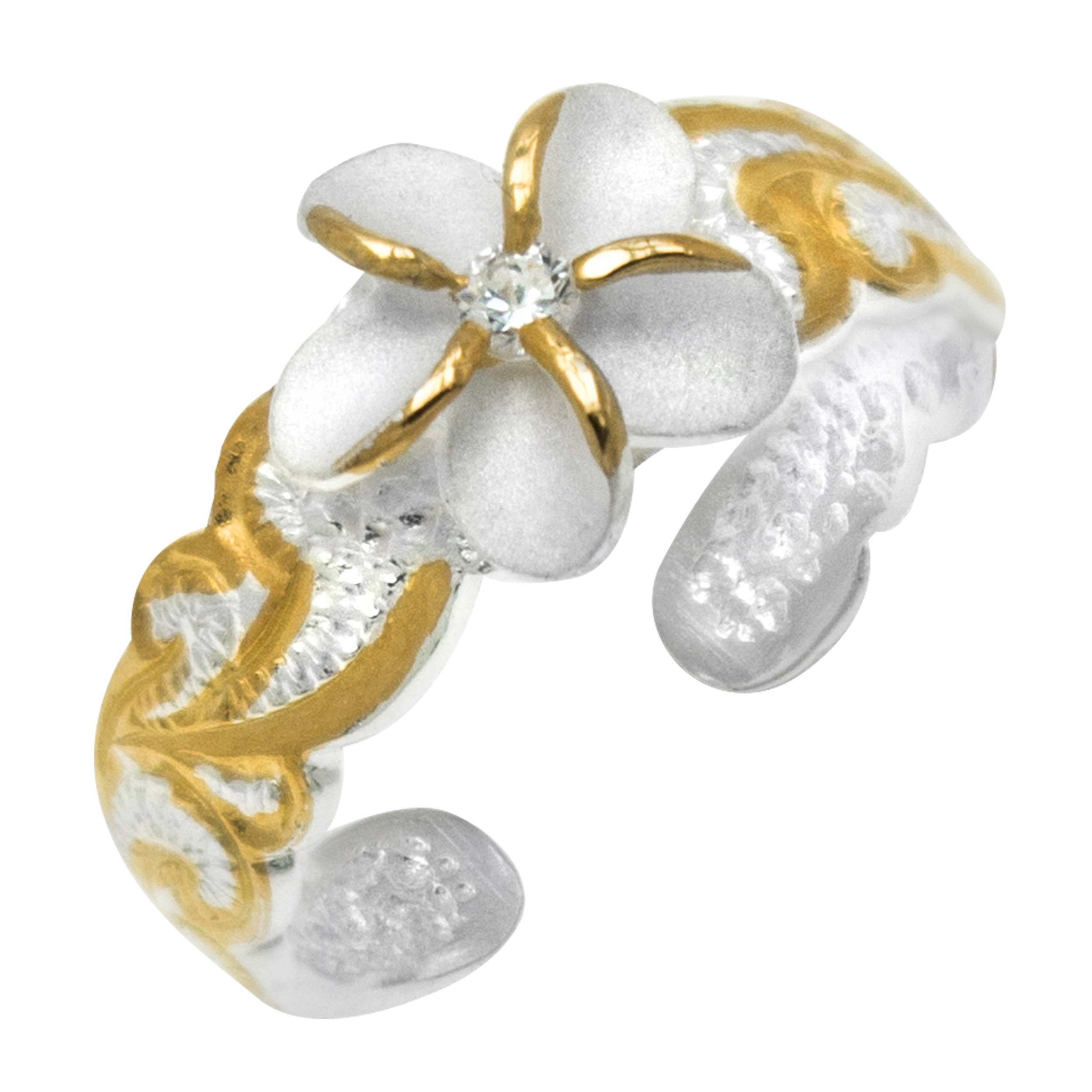 Sterling Silver Two Tone Plumeria CZ Toe Ring with 14k Gold Plated Trim