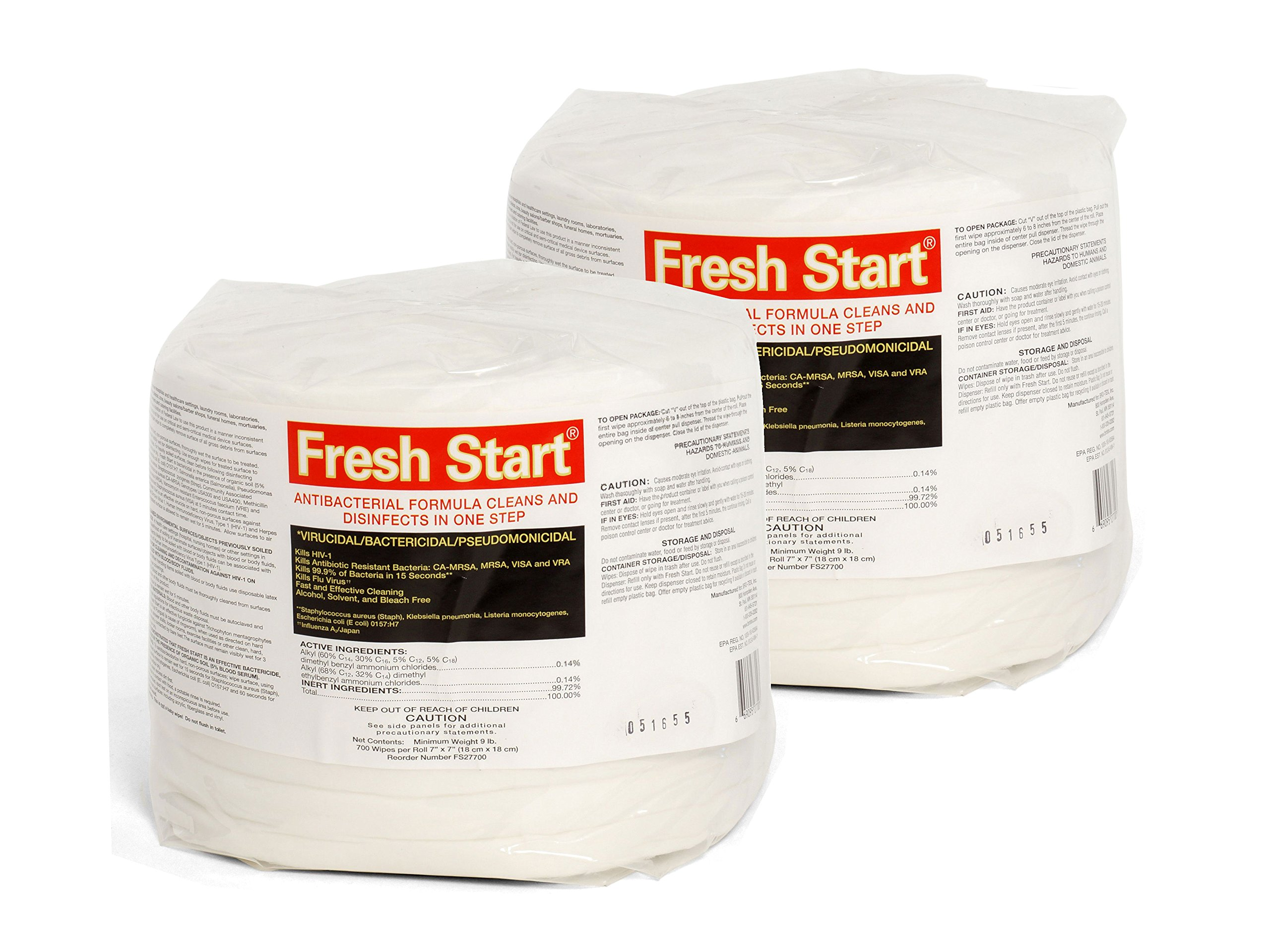 Fresh Start Disinfectant Premium Antibacterial Gym Wipes 2 Rolls, 1400 sheets (700 Wipes/Roll) 7'' x 7'' sheet by FreshStart