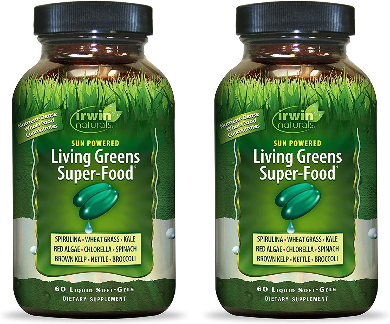 Irwin Naturals Sun Powered Living Greens Super-Food 60 Liquid Softgels (Pack of 2)