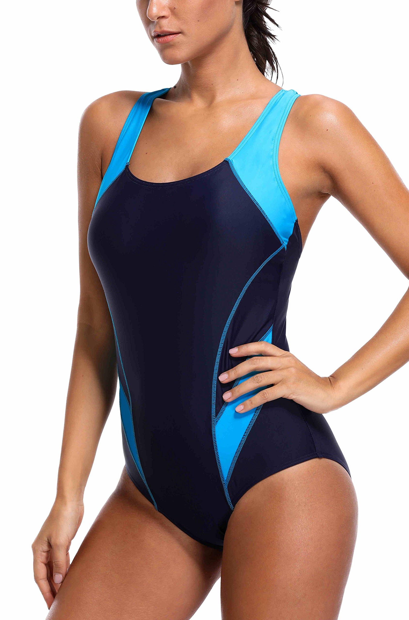 belamo Women Racerback Resistant one Piece Swimwear Ladies Sport Athletic Swimming Suit