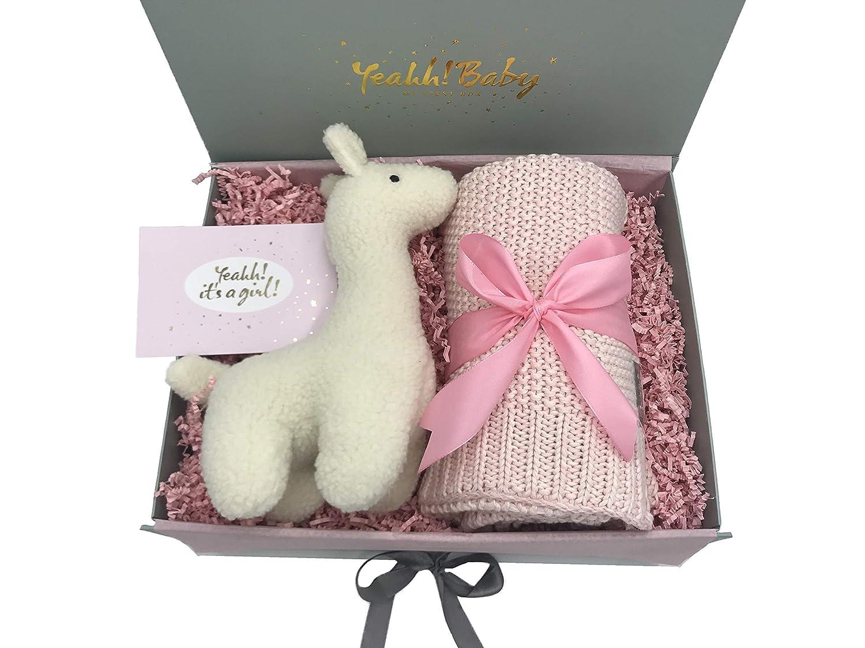 exklusives Geschenk zur Geburt//Baby Geschenkset M/ädchen mit Kuscheldecke mit Namen und Pl/üsch Lama