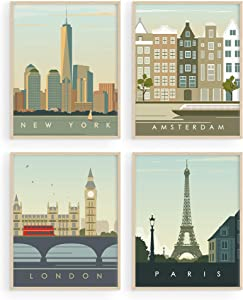 "City Wall Art Vintage Travel Posters - by Haus and Hues | Set of 4 Travel Wall Art Posters of London, New York Print, Paris Wall Poster and Amsterdam City Wall Decor | 8"" x 10"", Unframed"