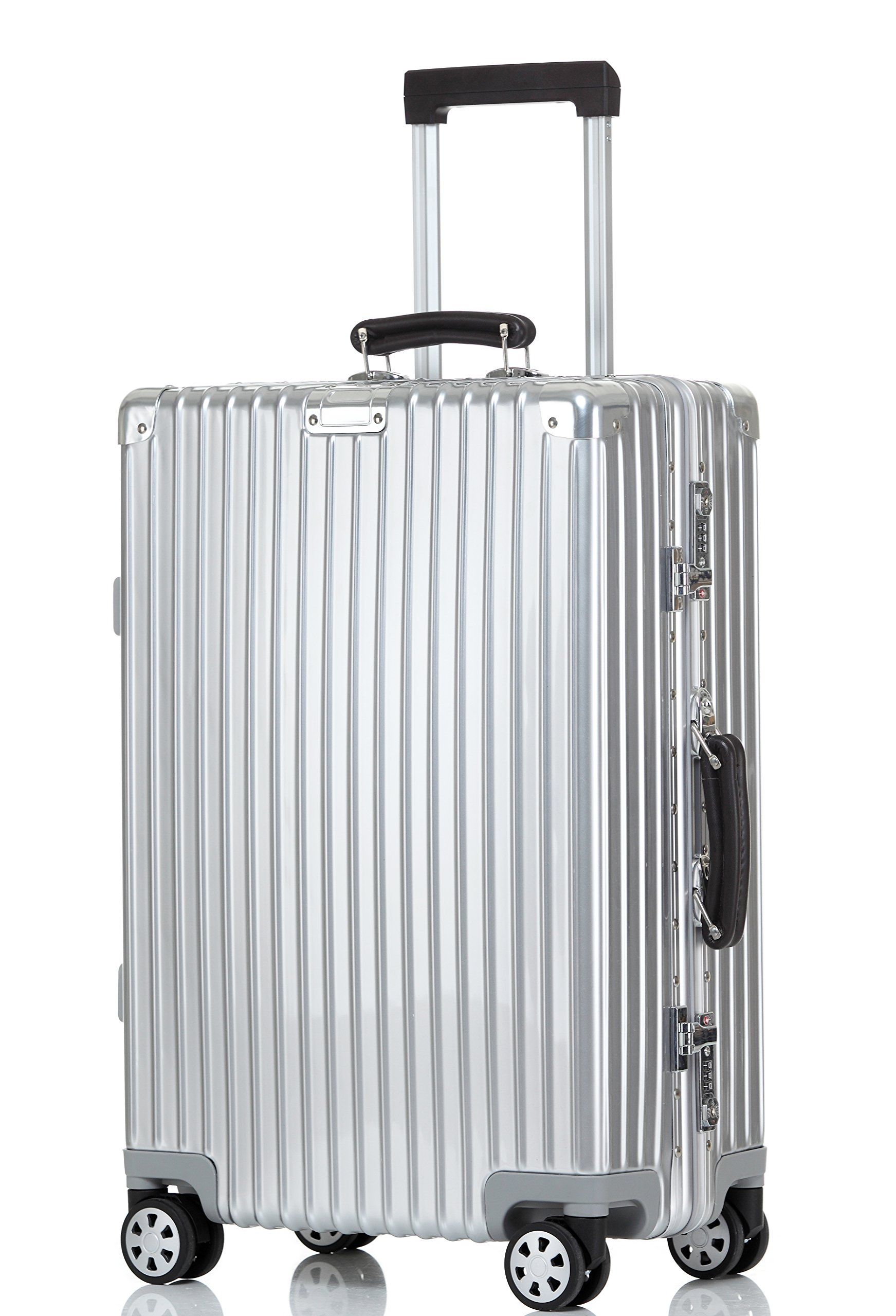 Luggage Aluminum Frame Hardshell Spinner Suitcase TSA Approved 28'', Silver