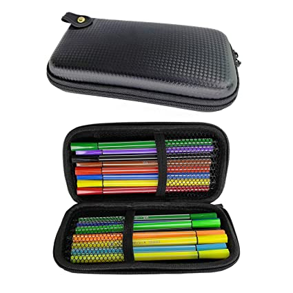 brand new d9c03 850cb Amazon.com : Aladding Black Pencil Case Hard Carrying Case Storage ...