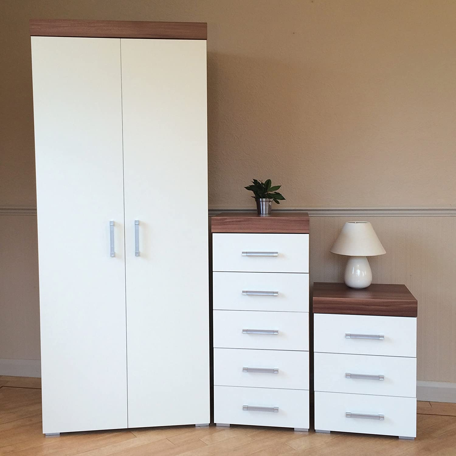 DRP Trading White & Walnut Bedroom Set! Wardrobe, 5 Drawer Chest & 3 Draw Bedside Cabinet NEW